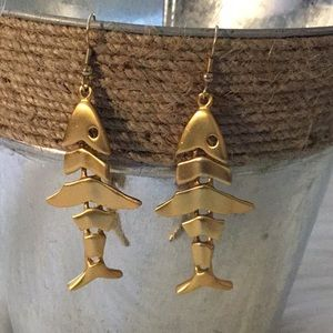 AK Jointed Gold Tone Fish Earrings